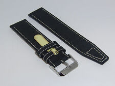 "DI-Modell Genuine Vintage Waterproof Leather 22 mm BLACK Watch Band ""NEVADA"""