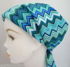 Turquoise Chevron Chemo Cancer Hair Loss Turban Hat Alopecia Cotton Head Scarf