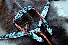 Horse  Show Tack Bridle Western Leather Headstall Breast Collar Turquoise 80149