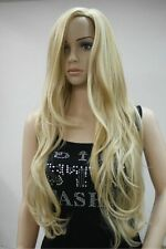 Hot Long Western Womens Wig Like Real Natural Hair Wave Curly Blonde Wigs