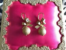 Betsey Johnson Vintage Fashion Fever Disco Gold Glitter Ball Heart Bow Earrings