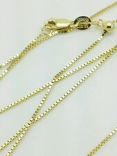 "10k Solid Yellow Gold Adjustable Box Necklace Pendant Chain Up to 22"" .7mm"
