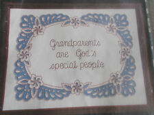 "VINTAGE ANN BENSON CHARMIN EMBROIDERY CHAINSTITCHING KIT GRANDPARENTS 16"" X 12"""