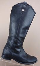Frye Melissa Button Extended Calf Black Leather Knee High Riding Boots Women 7 B