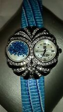 Blue croco embossed leather watch crystals owl face HSN Victoria Wieck Excellent
