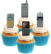 Novelty Retro Mobile Phone Mix 12 Edible Stand Up wafer paper cake toppers