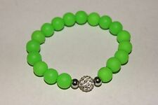 New Rustic Stainless Steel Silicone Milan Style Lime  Green Bracelet  Cuff
