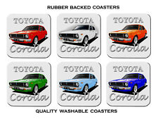 TOYOTA  KE30  COROLLA  SEDAN      SET OF 6  RUBBER DRINK  COASTERS