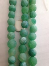 "7.5"" Strand 8mm Round Green Frosted Fire Agate Beads L@@K SALE"