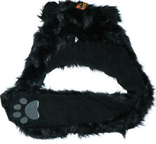 Faux Fur Black Cat Furry Plush Hat Toy With Gloves/Paws