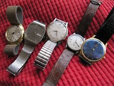 FIVE USED VINTAGE MECHANICAL SWISS MEN'S WRISTWATCHES -GROUP/LOT