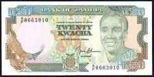 1989-91 ZAMBIA 20 KWACHA BANKNOTE * A/F 8663910 * UNC * P-32b *