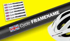 CYCLE BIKE FRAME HELMET personalised name Decal Stickers SET OF 6 with flag