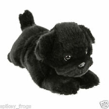 "SALE *NEW* LYING BLACK PUG PUP PUPPY DOG ""PUDDLES"" SOFT STUFFED TOY 28CM"