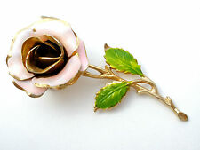 Vintage Pink Rose Brooch Flower Pin With Enamel Green Leaves Fashion Jewelry