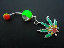 A  STAINLESS STEEL ENAMEL CANNABIS WEED LEAF  NAVEL/BELLY BAR. NEW.