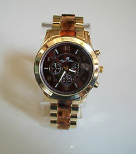 Chunky Oversized Gold/Tortoise Shell Chrono Style Bracelet  Fashion Watch