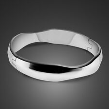 Genuine Solid Sterling Silver Smooth Band Bangle Lady's Bracelet B213
