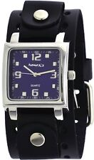Nemesis BB516L Men's Black Wide Leather Cuff Band Square Blue Dial Watch