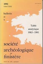 Bulletin de la Société Archéologique du Finistère - Table analytique 1983-1991 -