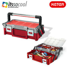 KETER CANTILEVER TOOL BOX 18 ORGANIZER WITH EXTRA LARGE STORAGE SPACE HEAVY-DUTY