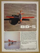 1972 Bede BD-5 BD5 homebuilt aircraft kit plane color photo vintage print Ad