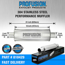 "3"" (76mm) 4x18""inch Round Universal Stainless Steel Profusion Exhaust Silencer"