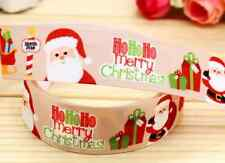 "2M 22mm 7/8"" GOLD SANTA FATHER CHRISTMAS GROSGRAIN RIBBON 99p CAKE PARTY XMAS"