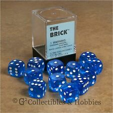 NEW 12 Transparent Blue D6 Brick 6 Sided RPG Bunco Rounded Edge 16mm Dice Set