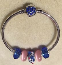 Silver Tone Blue Rhinestone Heart Clasp Bangle With Blue/Pink Glass Beads Gift