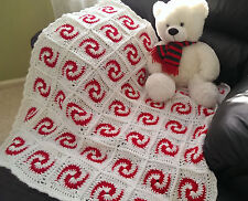 NEW CROCHET PEPPERMINT PATTERN BABY AFGHAN BLANKET, WHITE/RED