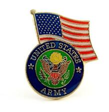 US Army Insignia With USA Flag Lapel Hat Pin Military Gift PPM652