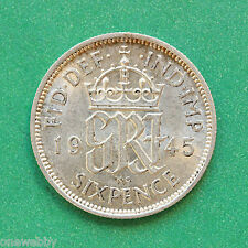1945 - George VI - Silver Sixpence - SNo40088