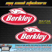 2 x Berkley Fishing 20cm Vinyl Sticker Decal, for Boat 4X4 Car Tackle box Esky