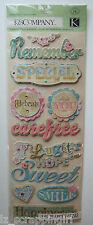 ALL OCCASION WORDS Adhesive Chipboard Stickers K & Company CO; FAMILY BABY LOVE