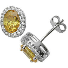 Sterling Silver Yellow & Clear Cubic Zirconia Oval Stud Earrings Citrine Colour