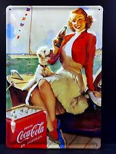 COCA COLA Girl With Dog Vintage Metal Wall Sign 3D Embossed ~COKE