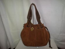 LUCKY BRAND BROWN SUEDE EXTRA LARGE HOBO DRAWSTRING BAG