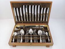 ART DECO 55 piece Silver Sandringham CANTEEN of CUTLERY SET, Sheffield 1940's