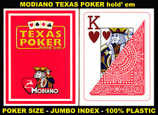 MODIANO PROFESSIONAL CASINO POKER BLACKJACK 100% PLASTIC PLAYING CARDS RED COLOR