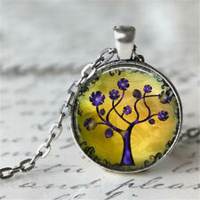 Vintage Tree of Life Cabochon Silver plated Glass Chain Pendant Necklace #D164