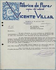 Valencia, 2 cartas 1934, fabrica de flores copias del natural, Vicente Villar