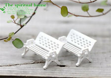 2pcs 1.5*1CM Landscape decoration White Bench Chair Miniature Garden Dollhouse