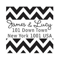 Custom Personalized business return address name rubber stamp chevron
