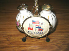 SIX FLAGS OVER MID-AMERICA SALT & PEPPER SHAKERS CERAMIC FLAGS INTERNATIONAL