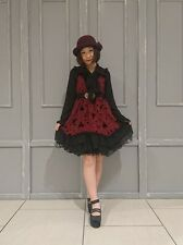 1320.BNWT!axes femme Dark fairytail crimson Halloween classic lolita short dress