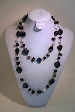 International Concepts silver tone blue & white shell long necklace