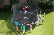 14 Ft BouncePro Trampoline With Enclosure Safety Net And Electron Shooter Game