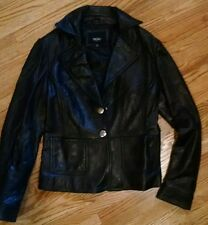 MASSIMO  Black Genuine LEATHER Women's Coat Jacket Button Front Lined soft small