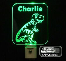 "Personalized Kids T-Rex Dinosaur LED Night Light, 3/8"" acrylic"